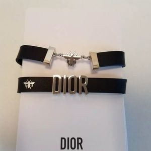 Christian Dior Black/Silver BEE Charm Bracelet NEW